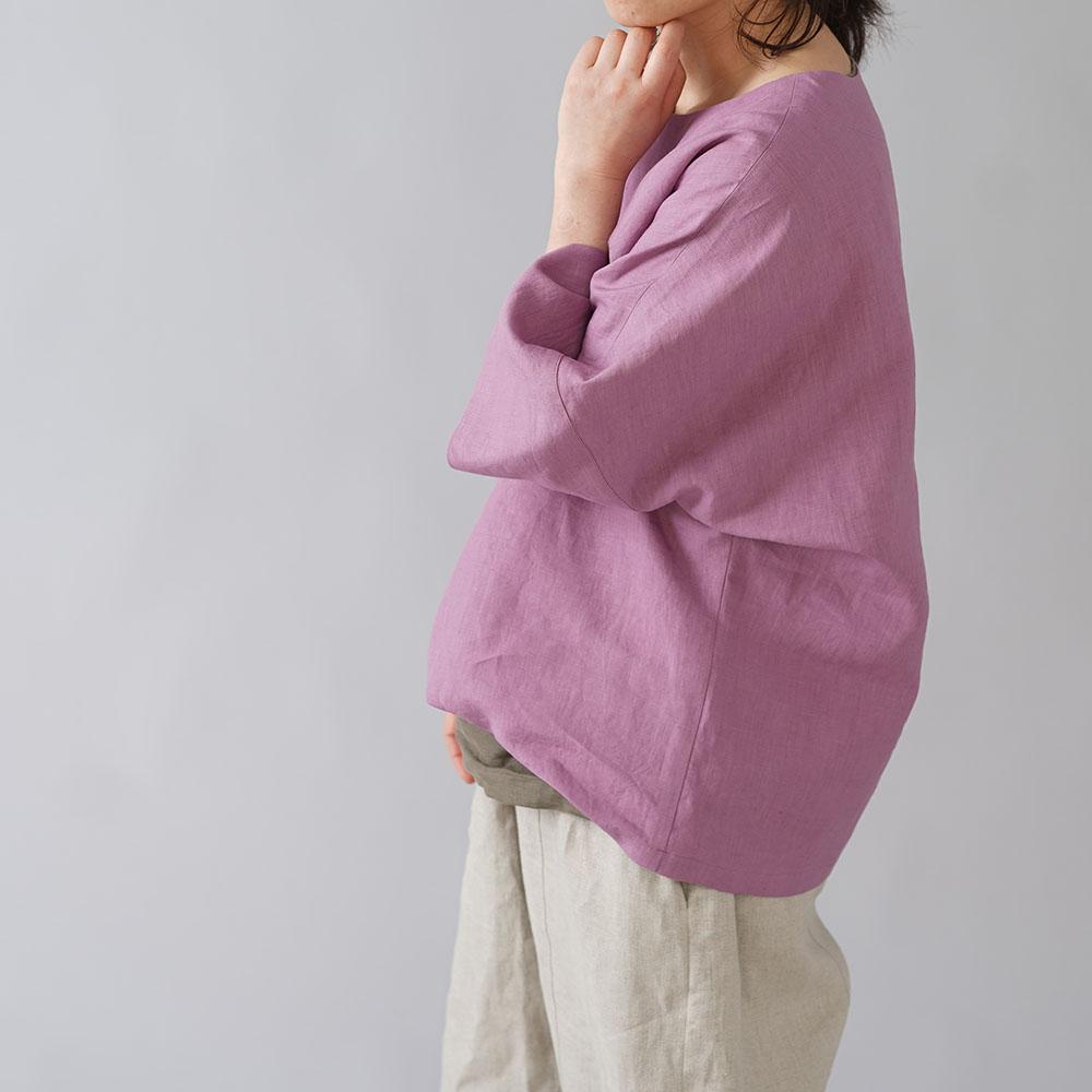 【wafu入門編】25着限定! 超高密度リネン 袖口カフス ゆったり チュニック ビッグT やや薄地 60番手/藤色(ふじいろ) t041c-fji1