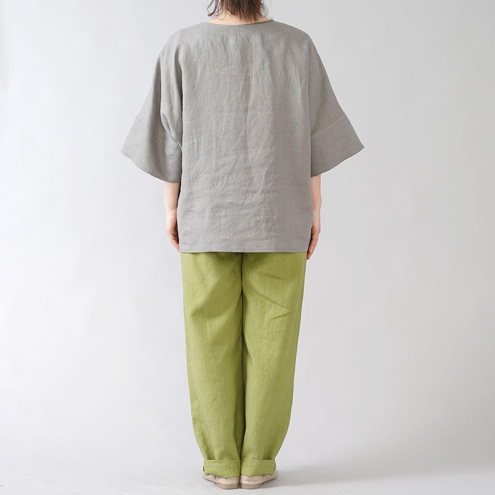 【wafu】リネンビッグT 袖口カフス ゆったり チュニック やや薄地 40番手/鈍色(にびいろ) t041d-nib1