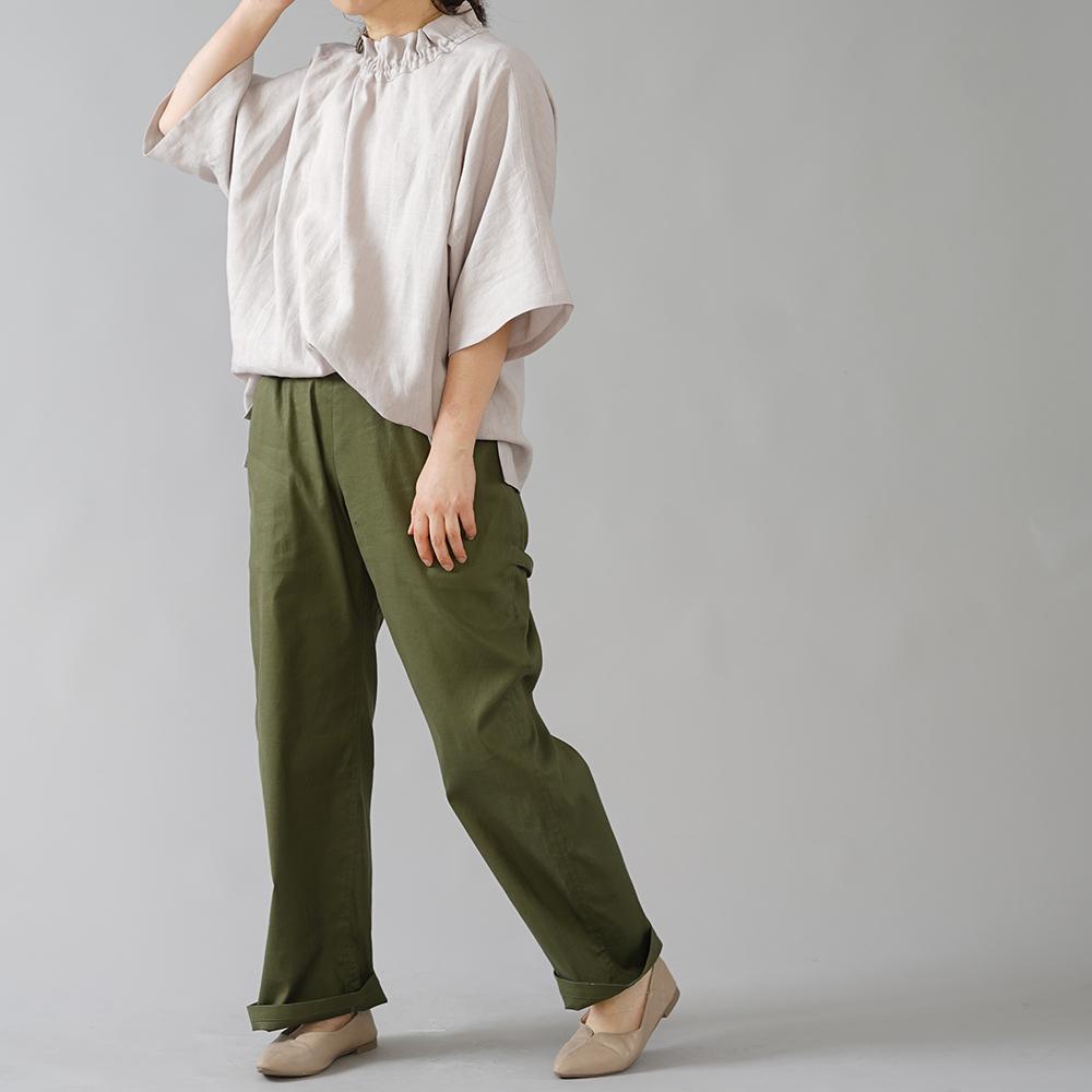 【wafu】リネン100% シャーリング ビッグT リネンブラウス やや薄手 40番手/灰桜(はいざくら) t041e-hzk1
