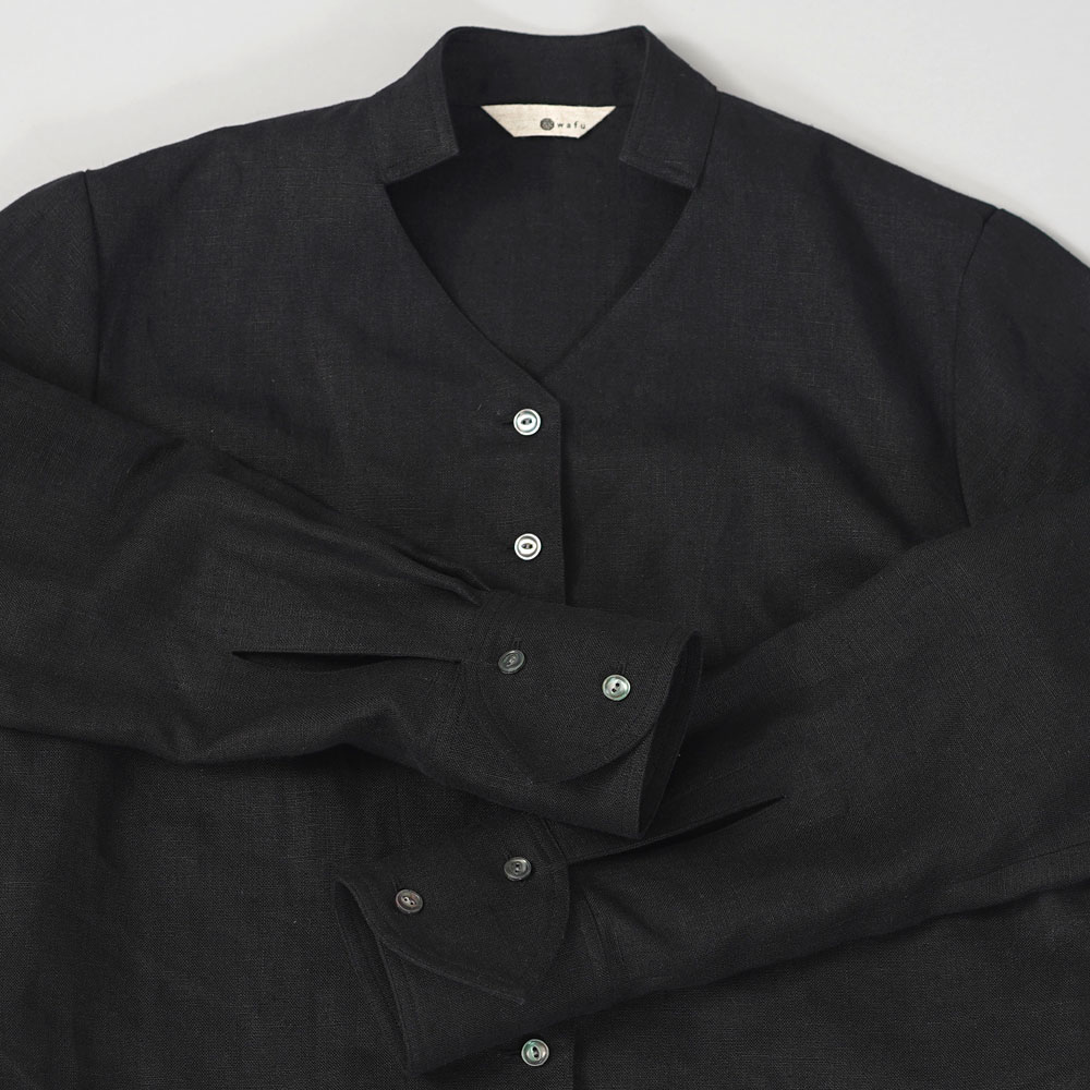 中厚リネンシネマでみたワンシーンのブラウス リネンブラウス リネンシャツ 羽織 セットアップにも /ブラック【M】t044a-bck2