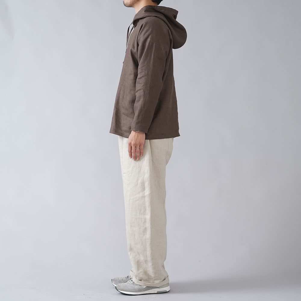 【wafu 入門編】数量限定!シンプル リネンパーカー 中厚リネン/アドーブブラウン t047e-abn2