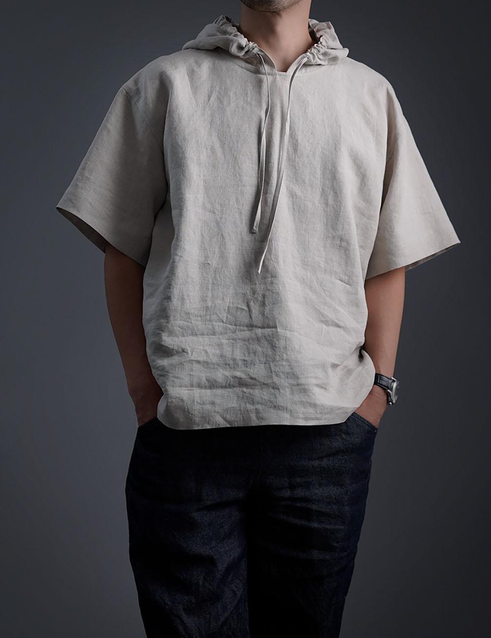【wafu】さらさらリネン100% ビックパーカー 男女兼用  半袖 /亜麻ナチュラル t047f-amn1
