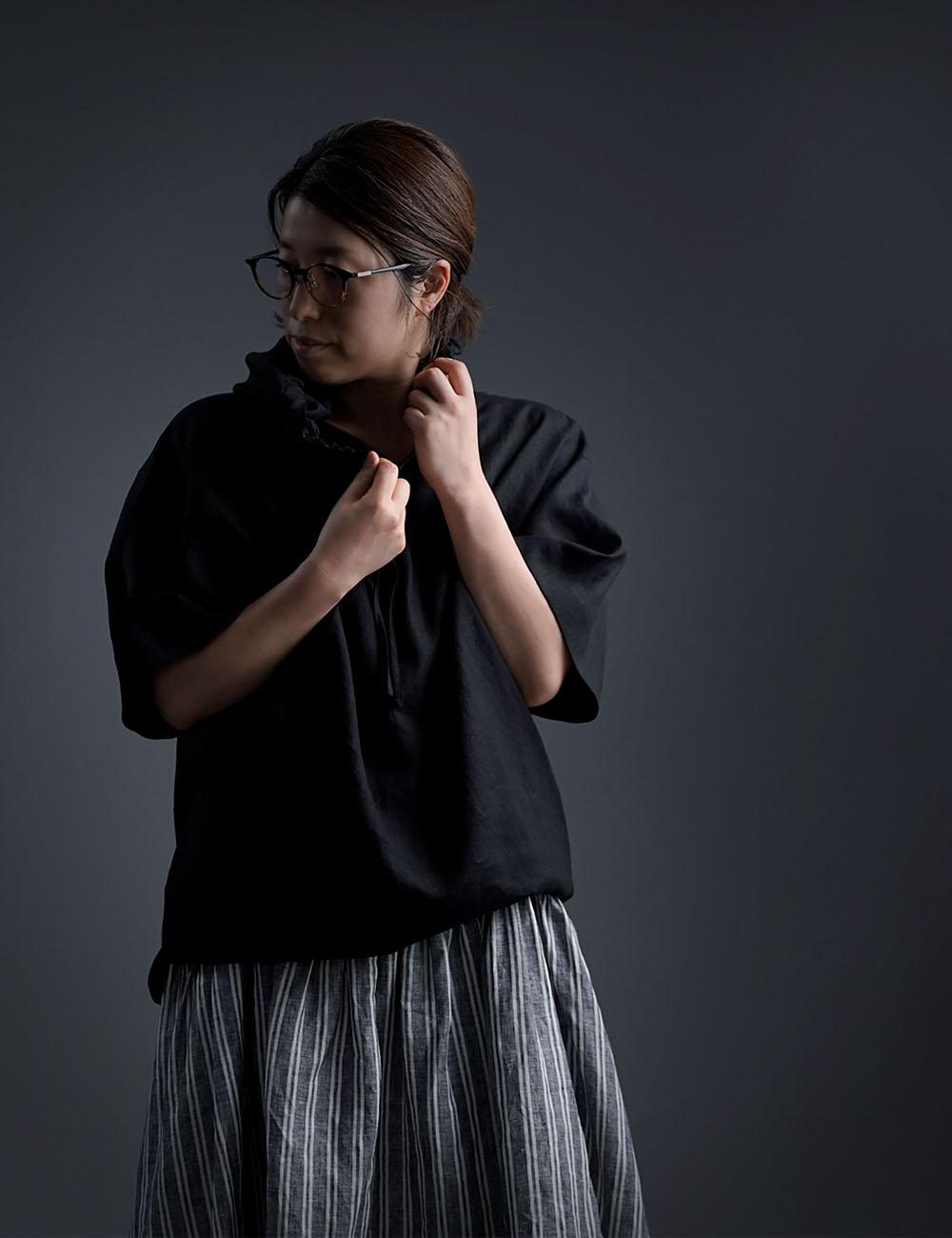 【wafu】さらさらリネン100% ビックパーカー 男女兼用  半袖 /黒色 t047f-bck1