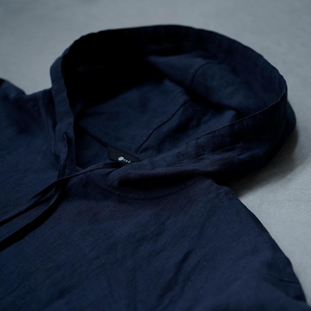 【wafu】さらさらリネン100% ビックパーカー 男女兼用  半袖 /留紺(とめこん) t047f-tmk1