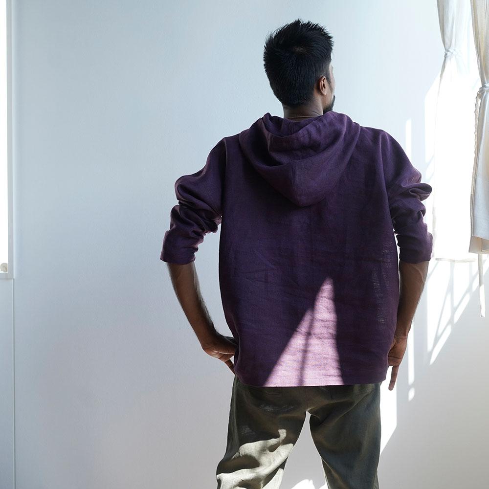 【wafu 入門編】数量 限定!男女兼用 中厚地リネンパーカー 先染め/紫根(しこん) t047h-skn2