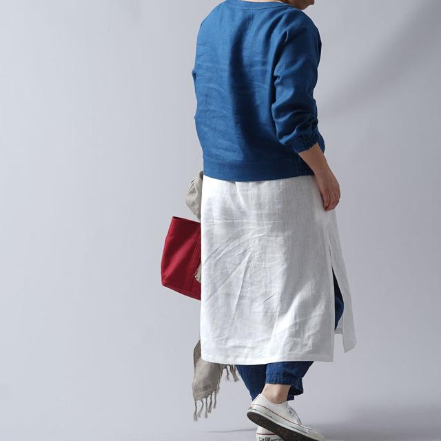 【wafu プレミアムリネン】リネン スウェット風トップス リネントレーナー wafu史上最高の上質リネン/オーシャン【free】t048a-ocn2