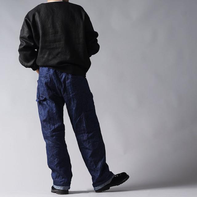 【wafu プレミアムリネン】リネン スウェット風トップス リネントレーナー wafu史上最高の上質リネン/ランプブラック【free】t048c-lbk2-m