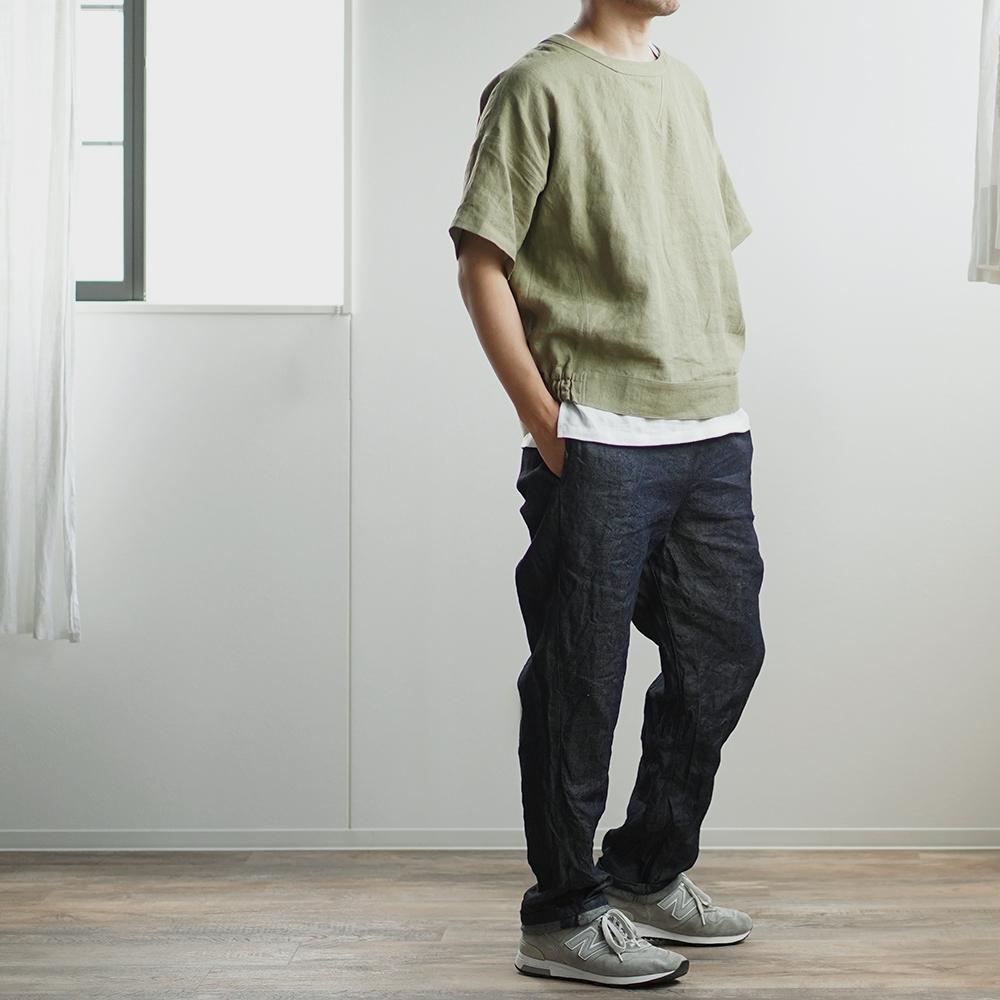 【wafu】チャンピオン風 半袖 スウェット リネン100% 男女兼用/柳染(やなぎぞめ) t048d-ygz2