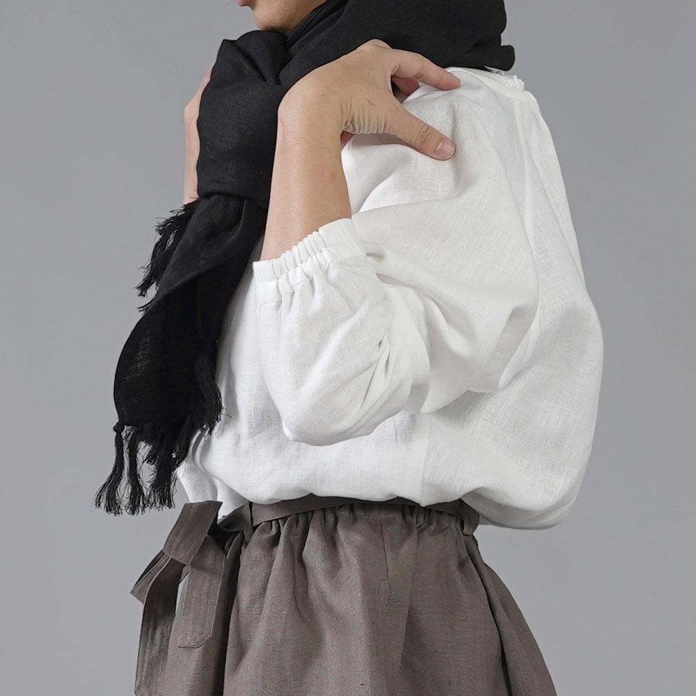 【wafu】中厚リネンブラウス elastic neck ラグランスリーブ リネントップス /ホワイト t049a-wht2