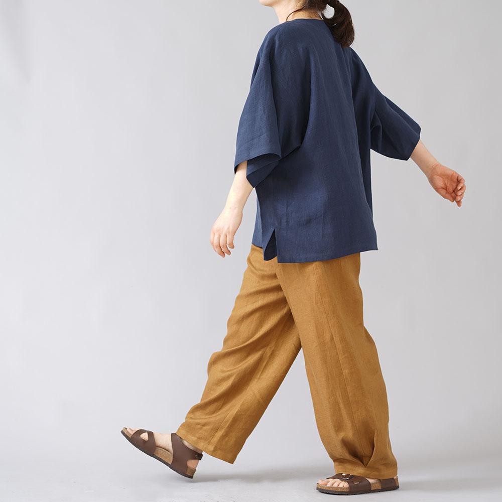 【wafu】さらさら リネン100% ドルマンスリーブ ざっくりビックTシャツ 男女兼用 40番手 やや薄地/留紺(とめこん) t050b-tmk1