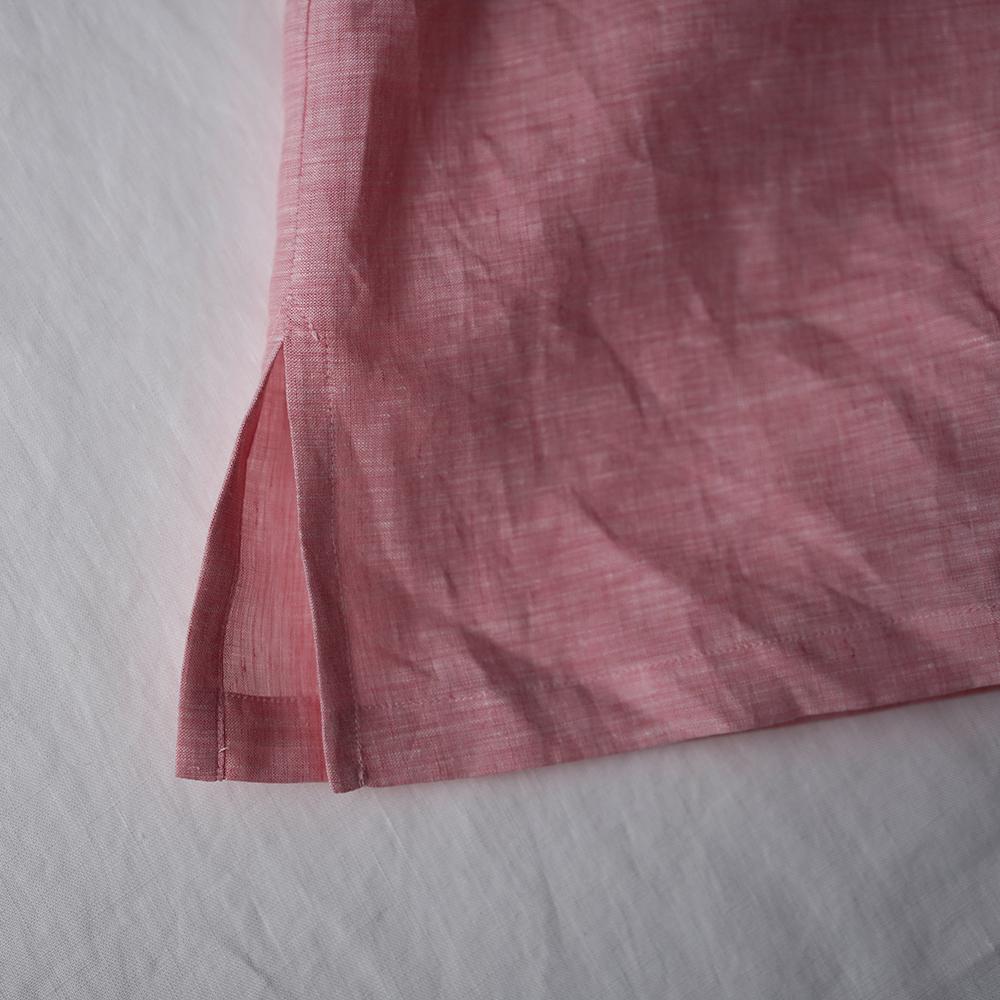 【見習い製作品】シャンブレー リネン 丸首 ビッグTシャツ リネントップス/ピンク t050c-pik1