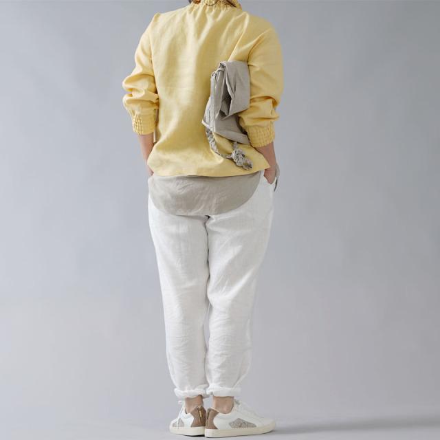 【wafu】中厚リネン タートルネック リブブラウス /ライムライト t052a-llt2