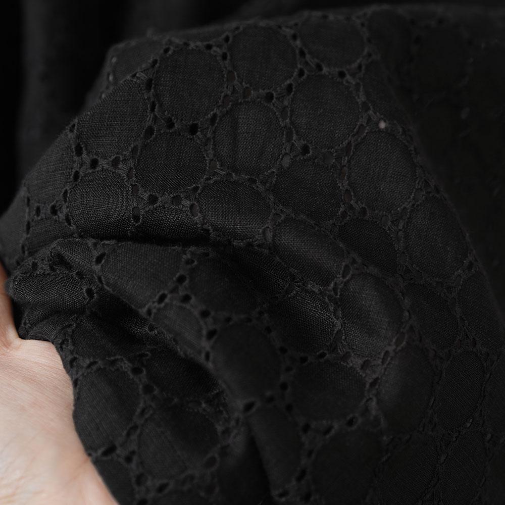 【wafu】リネンエンブロイダリーレース ハイネック シャーリング ブラウス リネンチュニック やや薄リネン/ブラック t052c-bck2