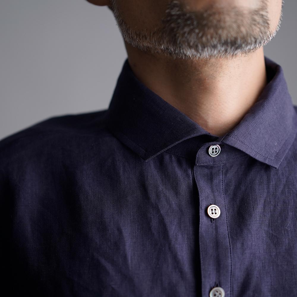 【wafu】Linen Polo Shirt ポロシャツ 超高密度リネン /黒紅色(くろべにいろ) t053a-kbi1