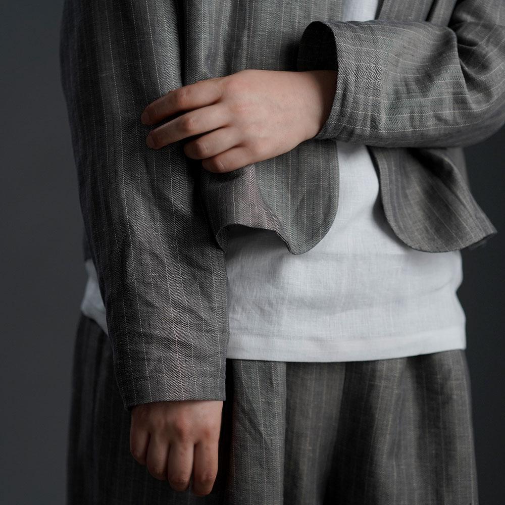【wafu】Linen two piece set 上下セット / 超高密度ヘリンボーン x002a-gys2