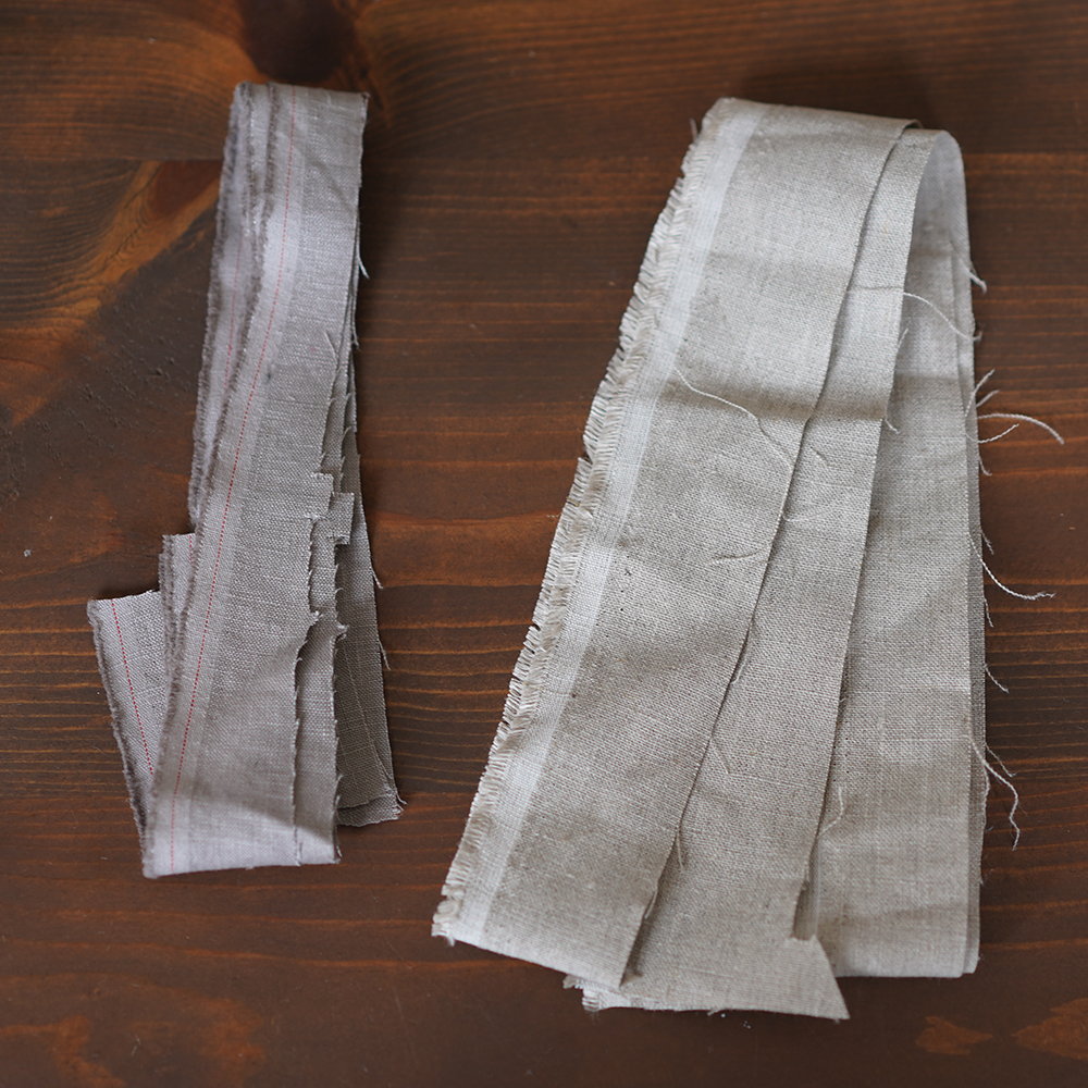 【日々価格変動あり!】中身が少し見える! 細長いリネンはぎれBOX!単色もあり★裂き織り カゴバック 小物雑貨 アート 手芸 織物にも たっぷり 1.5kg以上 60サイズ / z000s