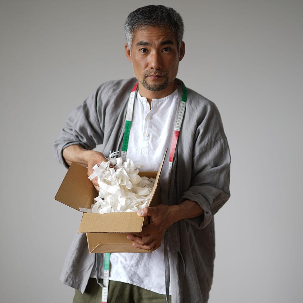 【wafu】wガーゼ リネン切り落としハギレ 細長い アート 手芸 緩衝材や ディスプレイにも 60サイズ / t000v