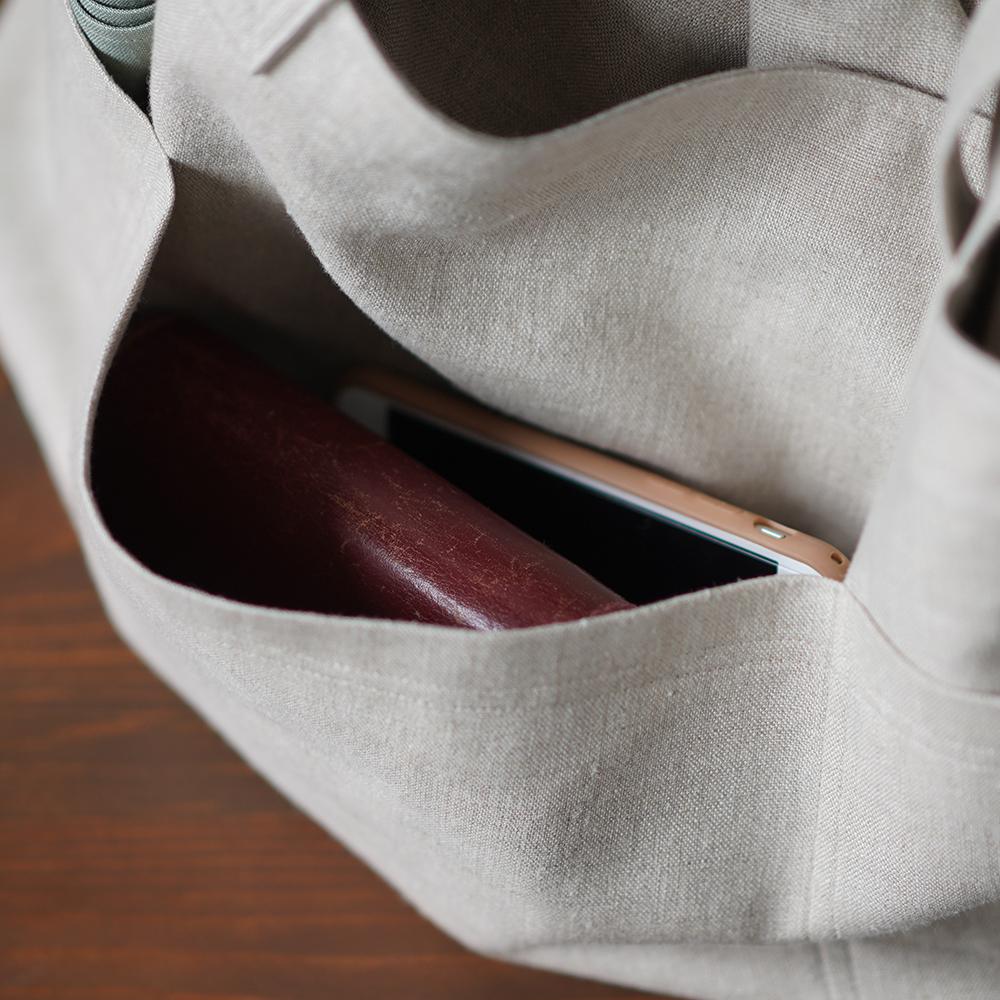 【wafu】リネン買い物カゴバック  リネンバッグ マイバッグ エコバック /亜麻ナチュラル z007b