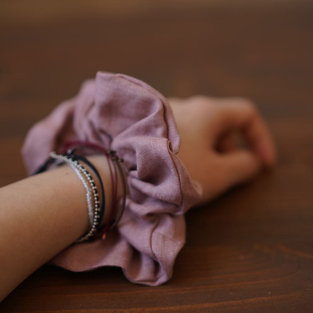 【wafu】リネンシュシュ シュシュ ヘアーアクセ ヘアーアクセサリー ヘアゴム 髪飾り リネン100%/23色展開 z009c