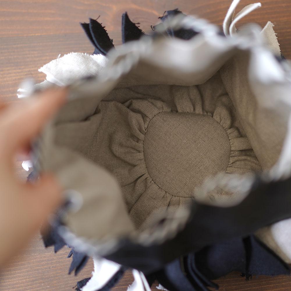 【wafu】リネン巾着 バイヤスポシェット 手提げ バッグ インテリアにも/5色展開 z011c
