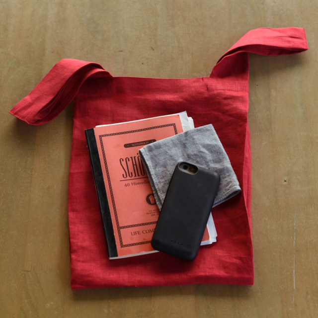 【wafu】小さく畳める リネン エコバッグ リネンバック リネンかばん 内ポケットあり/5色展開(レッド ブルーパッセ マスタード ブラック 亜麻ナチュラル ヴェールシプレ)【約34×26cm・持ち手の長さ18cm・持ち手幅5cm】z013c