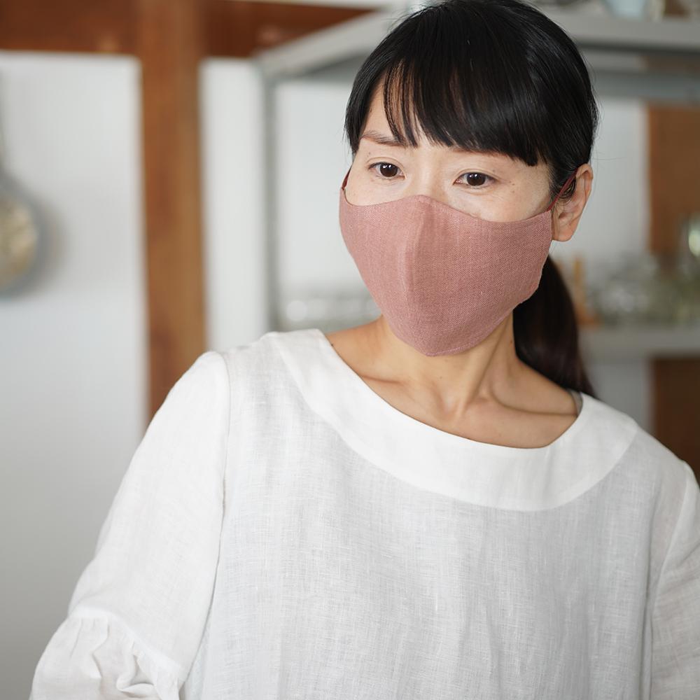 リネンマスク 2重仕様 先染めリネン100% 抗菌 防臭 速乾 ゴム調整可能 丸洗いOK 布マスク【ネコポス可】/浅緋色(あさあけいろ) 白群(びゃくぐん)柳染(やなぎぞめ) z021e