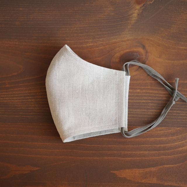 リネン 2重仕様  立体マスク 柔らかいWガーゼリネン100% 抗菌 防臭 速乾 ゴム調整可能 丸洗いOK 予備紐付き/亜麻ナチュラルz021g-amn2