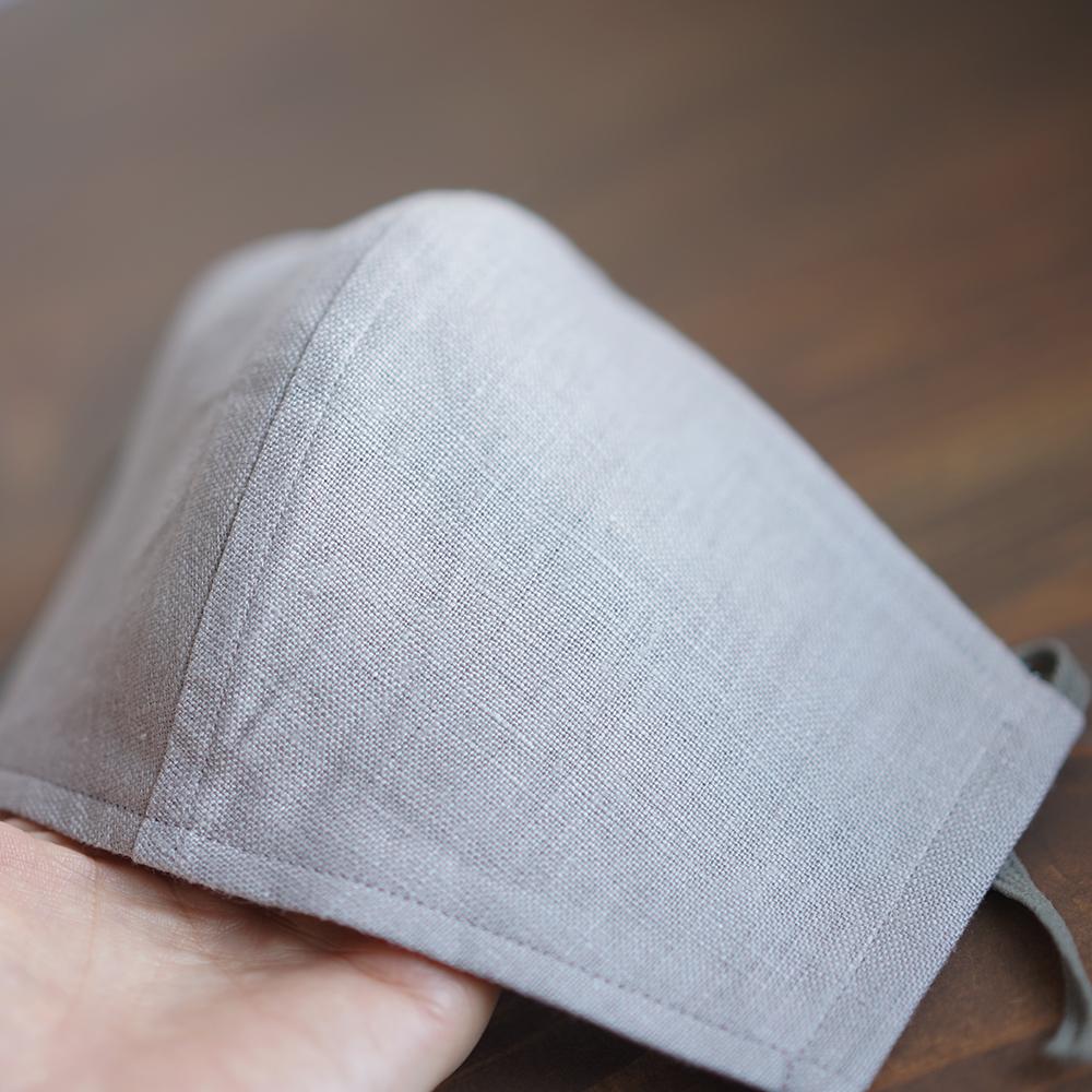 リネン 2重仕様  立体マスク 柔らかいWガーゼリネン100% 抗菌 防臭 速乾 ゴム調整可能 丸洗いOK 予備紐付き/アッシュパールz021g-asp2