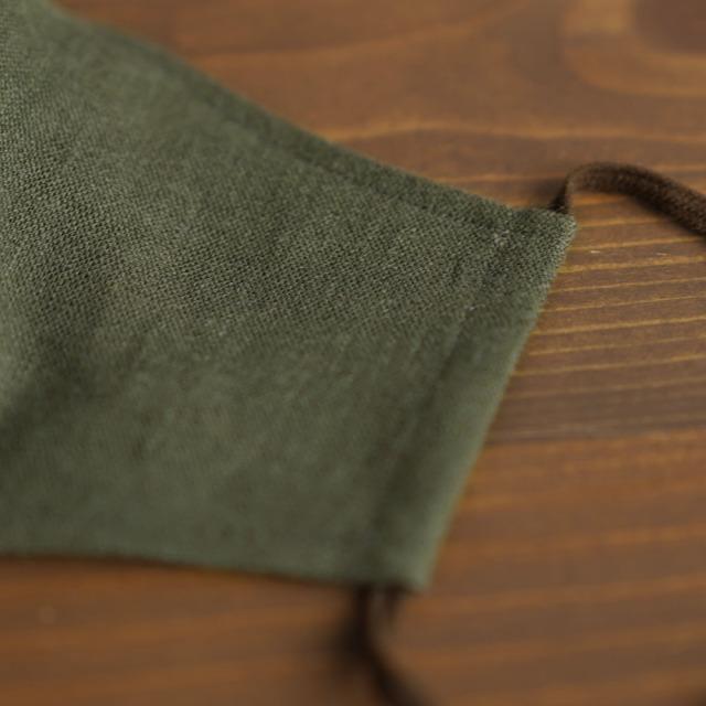 リネン 2重仕様  立体マスク 柔らかいWガーゼリネン100% 抗菌 防臭 速乾 ゴム調整可能 丸洗いOK 予備紐付き/カーキz021g-khk2