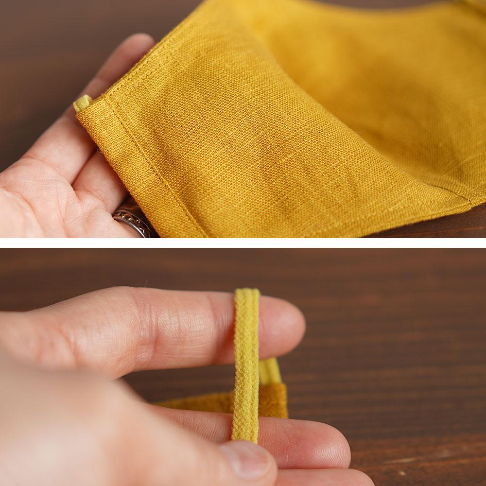 リネン 2重仕様  立体マスク 柔らかいWガーゼリネン100% 抗菌 防臭 速乾 ゴム調整可能 丸洗いOK 予備紐付き/マスタードz021g-mtd2