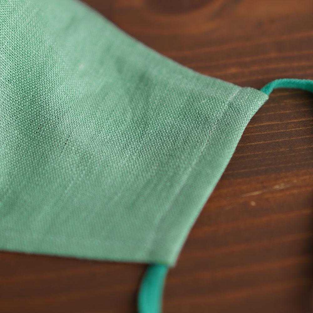 リネン 2重仕様  立体マスク 柔らかいWガーゼリネン100% 抗菌 防臭 速乾 ゴム調整可能 丸洗いOK 予備紐付き/オパールグリーンz021g-opg2