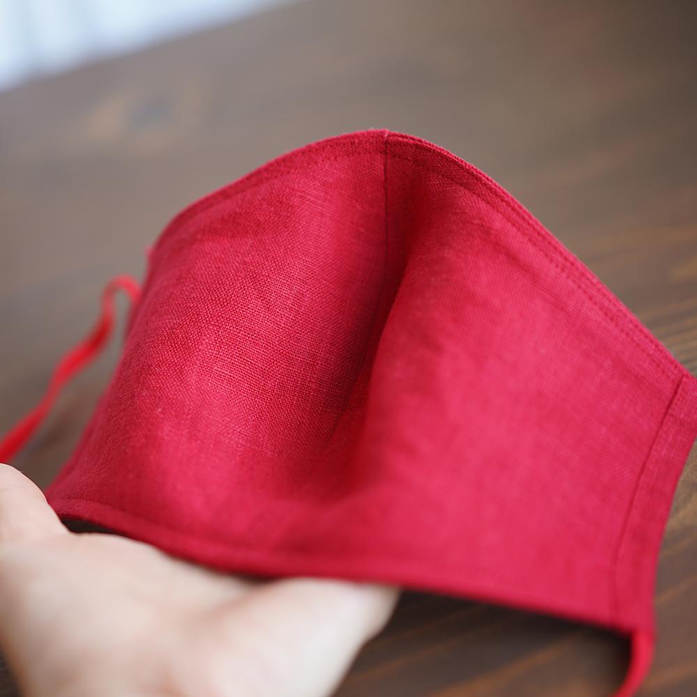 リネン 2重仕様  立体マスク 柔らかいWガーゼリネン100% 抗菌 防臭 速乾 ゴム調整可能 丸洗いOK 予備紐付き/レッドz021g-red2