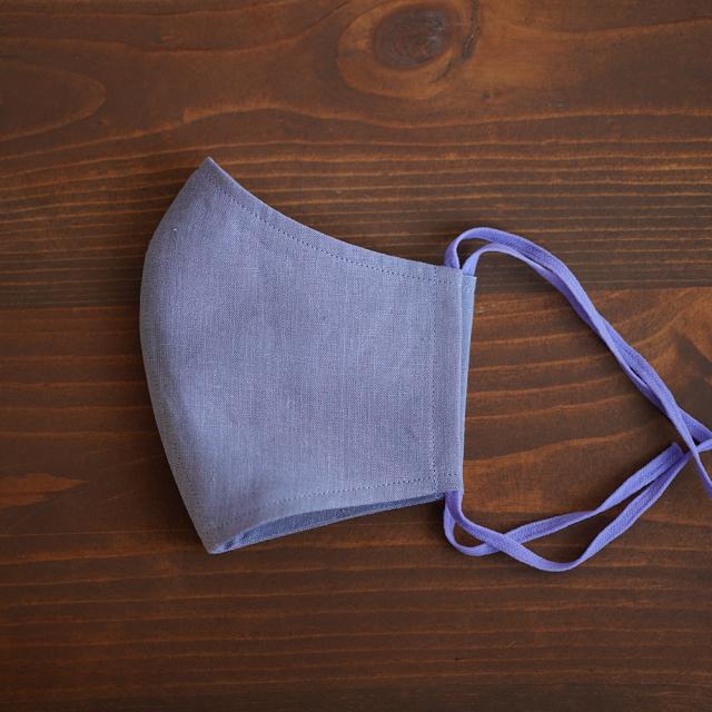 リネン 2重仕様  立体マスク 柔らかいWガーゼリネン100% 抗菌 防臭 速乾 ゴム調整可能 丸洗いOK 予備紐付き/菫色(すみれいろ)z021g-smr1