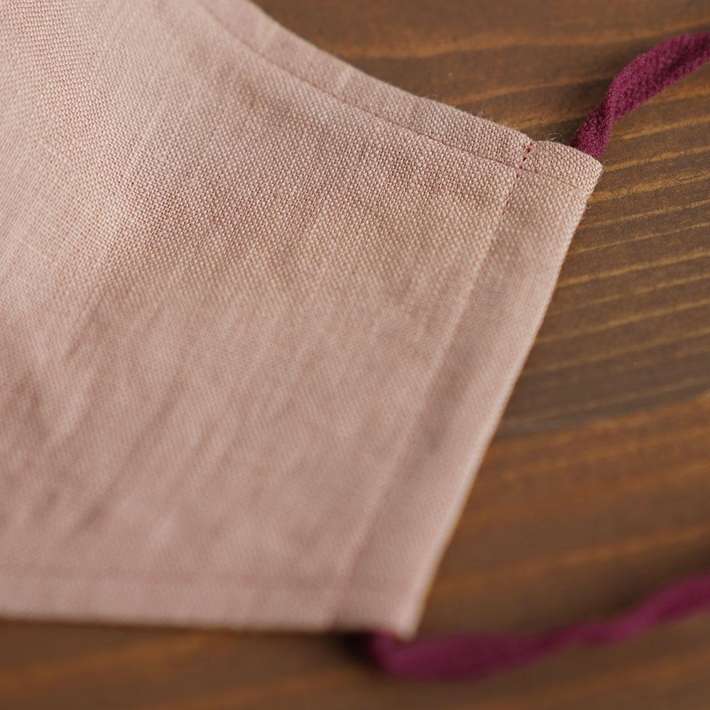 リネン 2重仕様  立体マスク 柔らかいWガーゼリネン100% 抗菌 防臭 速乾 ゴム調整可能 丸洗いOK 予備紐付き/蘇芳香(すおうこう)z021g-sok1