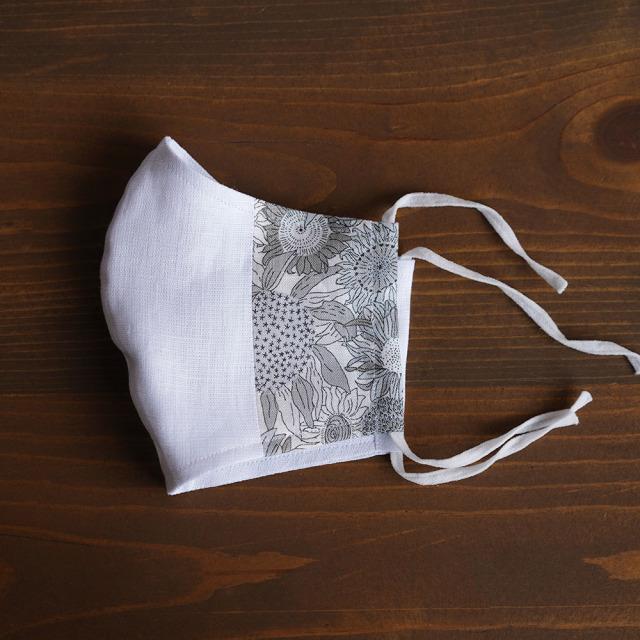 リネン 2重仕様  立体マスク 柔らかいWガーゼリネン100% 抗菌 防臭 速乾 ゴム調整可能 丸洗いOK 予備紐付き/スモールスザンナ・グレーz021g-ssg2