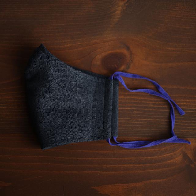 リネン 2重仕様  立体マスク 柔らかいWガーゼリネン100% 抗菌 防臭 速乾 ゴム調整可能 丸洗いOK 予備紐付き/鉄紺z021g-ttk2