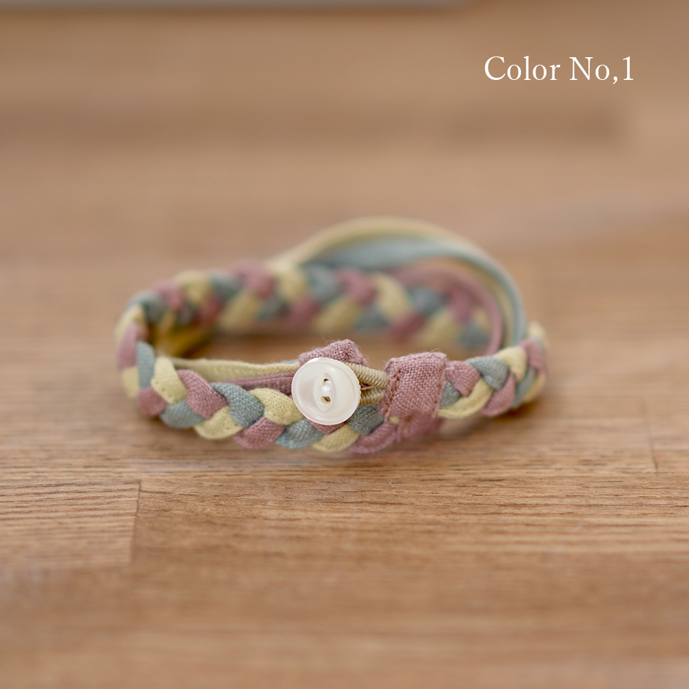【wafu】三編み ブレスレット 配色 リネン100% アクセサリー/3色展開 z025b